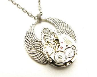 Steampunk Silver Round Scarab Necklace
