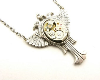 Steampunk Silver Double Raven Egyptian Necklace