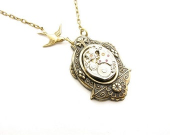 Steampunk Brass Cross Setting ClockWork Necklace