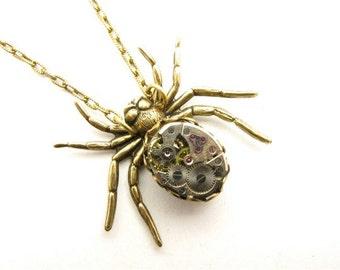 Steampunk Brass Victorian Mechanical Spider Necklace