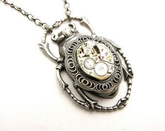 Steampunk Silver Giant Scarab Beetle Necklace