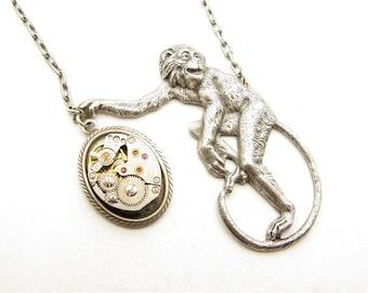 Steampunk Silver Victorian Monkey Clockwork Necklace