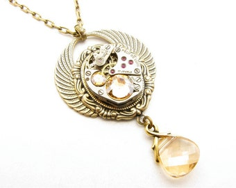 Steampunk Brass Winged Cameo Golden Shadow Jeweled Necklace