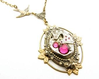 Steampunk Brass Ruby Ornate Floating Leaf Necklace