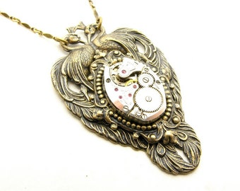 Steampunk Brass Victorian Style Twin Peacock Necklace