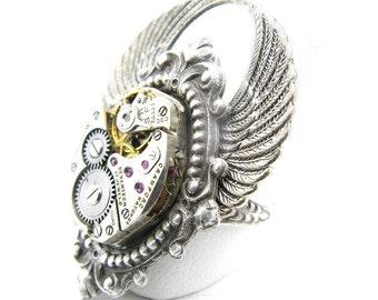Steampunk Silver Arcane Angel Ring