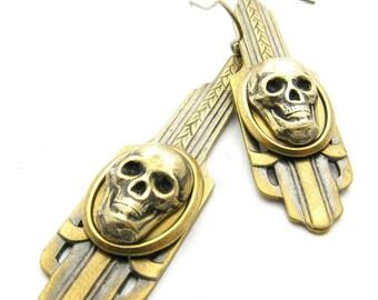 Brass Art Deco Skull Earrings
