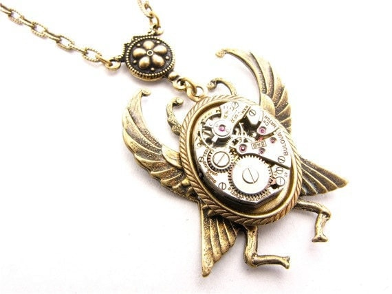 Steampunk Brass Winged Beetle Necklace