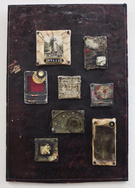 CHAPTERS IN AMERICAN HISTORY - Original Mixed Media Encaustic on Wood