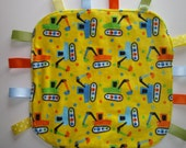 Baby Tag Blanket, Construction, Handmade, Sensory Blanket, Lovey, Tags, Teething, Minky, Baby Shower Gift, Ready to ship