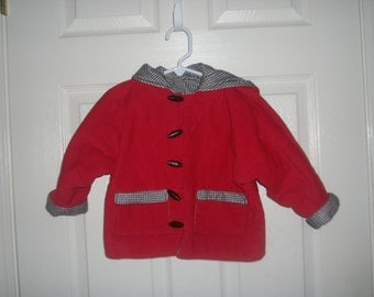 Boys Hooded Jacket,Red Corduroy,Black and White Flannel lining.Infants,Toddler