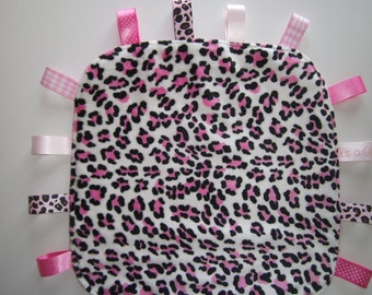 Tag Blanket, Leopard,Ribbons, Minky, Animal Print, Pink, Baby