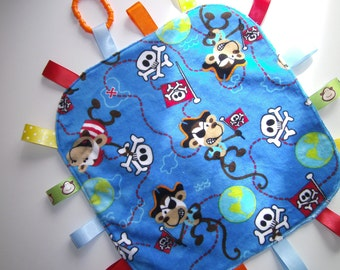 Baby Tag Blanket, Pirates, Handmade, Sensory Blanket,  Lovey, Teething, Toy, Blue, Shower gift, Ready to ship