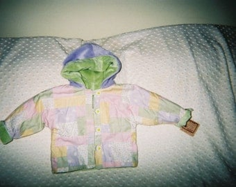 Girls Jacket,Patchwork with Hood,Minky Lined, Newborn,Indant,Toddler Girls