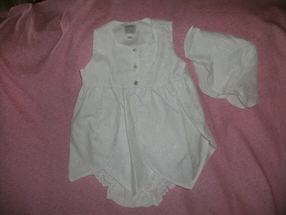 Infant Dress,White Cotton Eyelet,3mo,6mo,12mo,18mo,24mo,