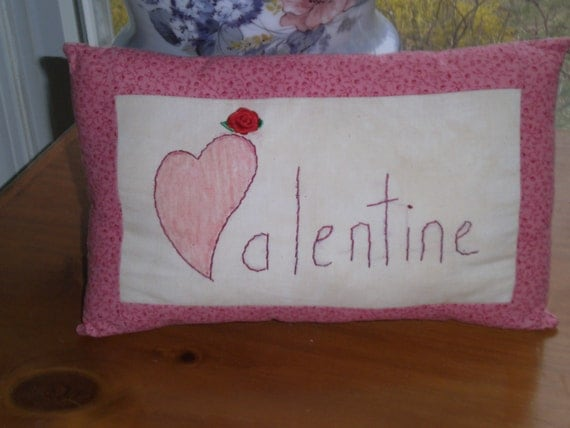 Valentine's Pillow,Hand Embroidered, Primitive Style