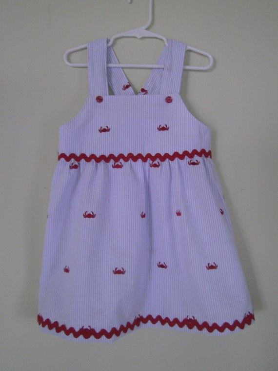 Sundress, Summer, Crabs on Embroidered Seersucker,  Toddlers, Red, Sizes 6m,12m ,18mo,2t,3t,4t