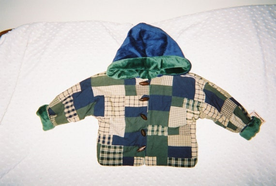 Boys Jacket,Patchwork,Minky lining,Newborn,Infant,Toddler,Boys