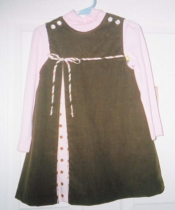 Girls Jumper Dress, Corduroy Dress, Back to School, Handcrafted, Pink and Brown Dress,Toddler Dress, Infant Dress, Preteen Dress