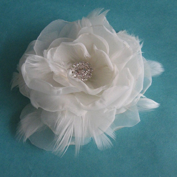 Ivory Organza and Tulle Feather Rose Hair Clip A222 - bridal feather hair accessory