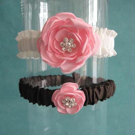Ivory, Pink and Brown Satin Wedding Garter Set I111 - bridal garter accessory