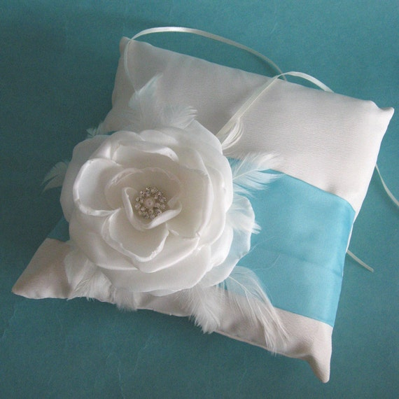 Tiffany Blue and and Ivory Rose Feather Ringbearer Pillow E225 - custom wedding accessory