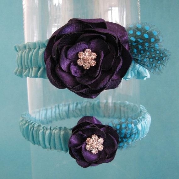 Tiffany Blue And Black Wedding Ideas: Tiffany Blue And Plum Purple Feather Rose Wedding Garter Set