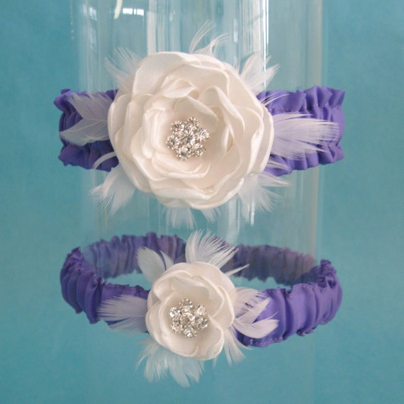Lavender and Ivory Rose Feather Garter Set B237 - bridal garter accessory