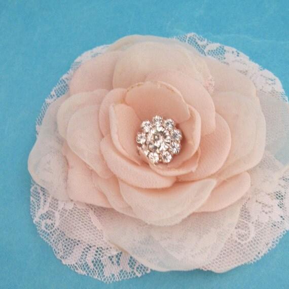 Blush Pink Lace, Organza and Chiffon Rose Hair Clip  B062- bridal hair accessory