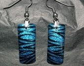Electric Blue and Black Glitter Zebra Nail Art Earrings
