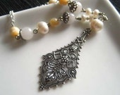 Clearance promo  - romantic Antoinette   - antiqued silver  filigree drop  pearl  necklace   - FREE SHIPPING  WORLDWIDE
