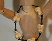 Adorable Orange Tabby Cat Bracelet with Black Accent Beads