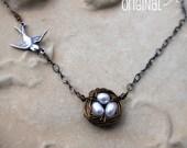 Custom Order  STERLING SILVER - A Little Bird Told Me - Birds Nest Pearl Necklace - Victorian Era