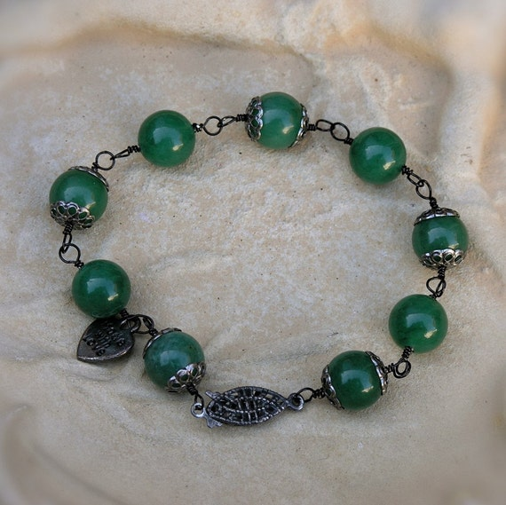 25% Off Code Inside - Jade Gemstone Bracelet - Victorian Era