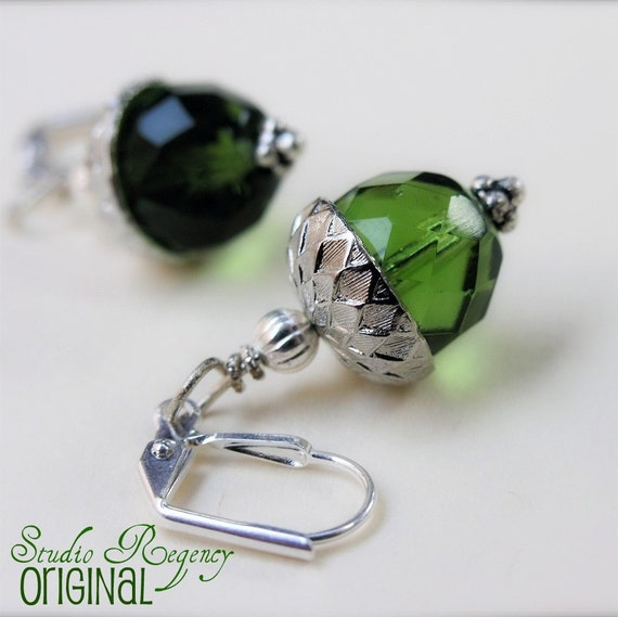 CHRISTMAS IN JULY SALE 20 PERCENT OFF Green Acorn Earrings - Daughter of Earth