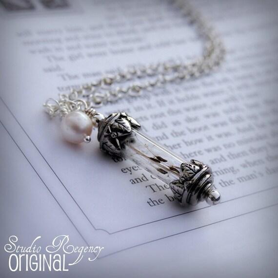 Necklace - As You Wish Necklace - Wish Necklace - Victorian Bottle Necklace - Full of Dandelion Seeds - Long Necklace