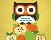 39B Bright Owl on Apples 6x6 Print