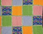ON SALE NOW...   Baby/Toddler Rag Quilt  in Bright colors... With Mickey Mouse Heads