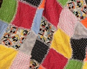 """ON SALE NOW...  Mickey Mouse Comic Strip Rag Quilt...Approx. 48"""" X 56"""""""