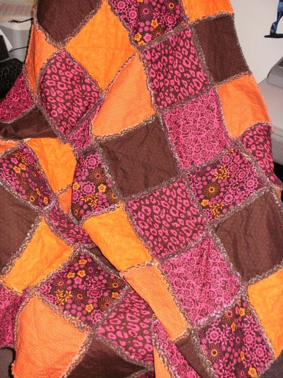 """On Sale Now ..... Brown, Pink, and Orange Large Rag Quilt...Approximately 48"""" X 56"""""""