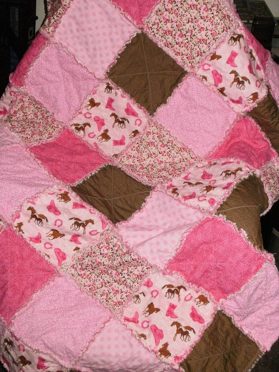 Pink and Brown Cowgirl Rag Quilt