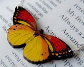 Vibrant Sulpher Butterfly Necklace