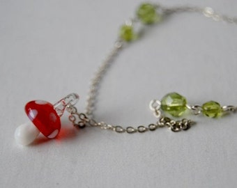 Tiny Glass Mushroom Necklace | Cute Forest Mushroom Necklace | Red Mushroom Charm