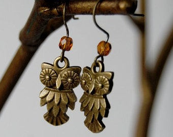 Brass Owl Earrings | Owl Charm Earrings | Cute Owl Earrings | SALE!