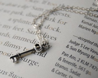 Tiny Silver Skeleton Key Necklace | Cute Key Charm Necklace | Little Silver Key Necklace