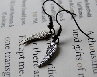 Tiny Antiqued Silver Bird Wing Earrings | Wing Charm Earrings | SALE!
