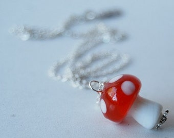 Large Red Mushroom Necklace | Cute Glass Forest Mushroom | Amanita Toadstool Necklace | Mushroom Charm Necklace