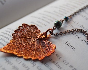 Small Fallen Copper Cottonwood Leaf Necklace | Electroformed Jewelry | Real Cottonwood Leaf Pendant | Nature Jewelry | Copper Leaf Necklace