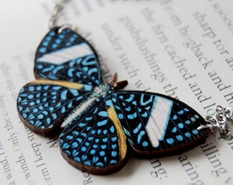Starry Night Butterfly Necklace | Butterfly Charm Necklace | Woodland Forest Butterfly