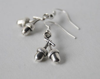 Silver Twin Acorn Earrings | Cute Acorn Charm Earrings | Nature Jewelry | SALE!
